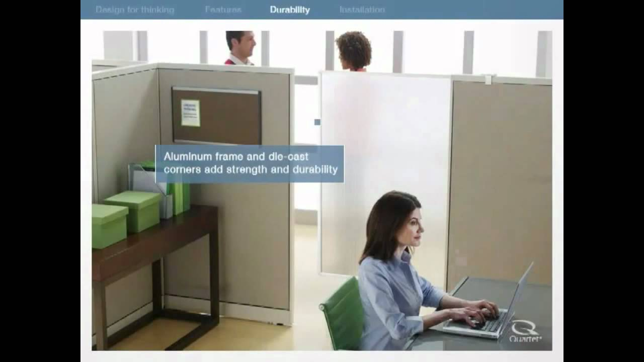 Quartet cubicle privacy screen 1000 work solutions youtube for Fence screening solutions