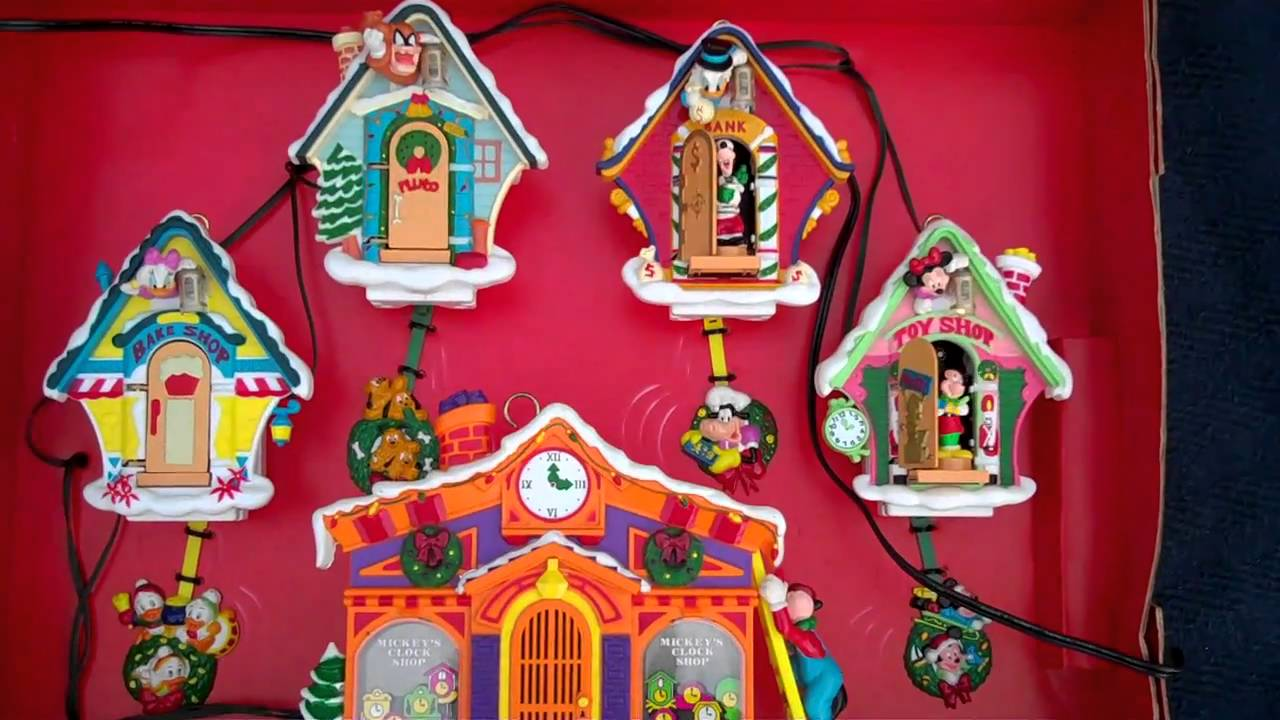 Mr. Christmas Mickey's Clock Shop Cukoo Ornaments - YouTube