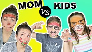 Mom VS Kids FACE PAINT CHALLENGE Animal People Edition Face Paint For Kids
