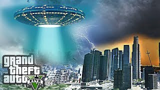 UFO ALIEN ATTACK IN LOS SANTOS - GTA 5 END OF LOS SANTOS ALIEN INVASION MOD