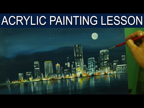 Acrylic Painting Lesson | City Moonlight by JM Lisondra