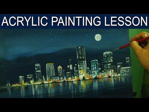 Acrylic Landscape Painting Lesson | City Moonlight by JM Lisondra