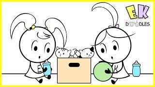 Emma & Kate ''Überraschung Katzen Präsentiert mit'' EK - Doodles, Lustige Karikatur, Animation