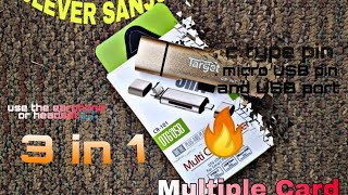 🔥  Target   Multiple Card Reader 🎧🔥  (OTG&USB) 3 in 1   (QERY)   (in Hindi)CR-101  SD card& micro SD
