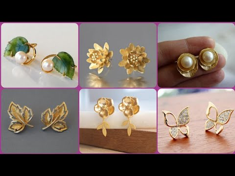 Gold stud earrings cool and casual designs collection || modern style short gold earrings
