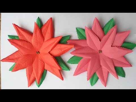 DIY/ How to Make poinsettia, Princettia Flower !!!