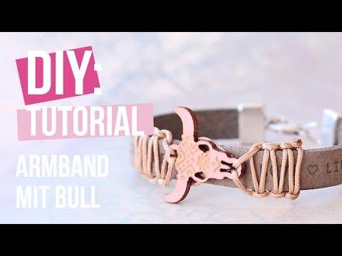 Schmuck machen: Armband mit holz bull Anhänger ♡ DIY