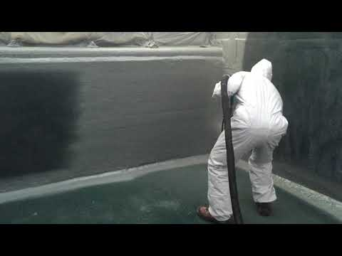 Spray applying VIP Polyurea Tank coating