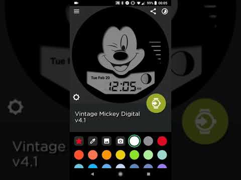 Vintage-Inspired Digital Mickey Mouse Watch Face for Watchmaker on Android Wear