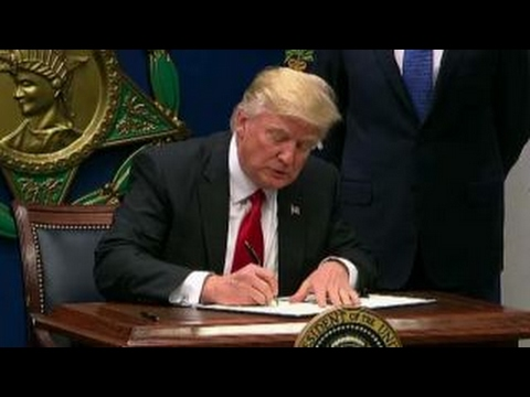 President Trump signs executive orders at Pentagon