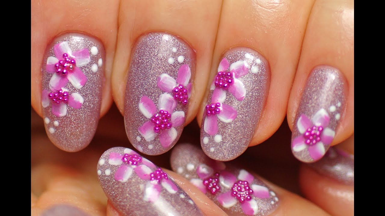 Nail art pink nailsholographic nail polishfloral design youtube prinsesfo Choice Image