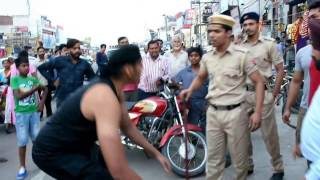 CWE Wrestler Shanky Singh Chokeslam to Police Constable Pandey.