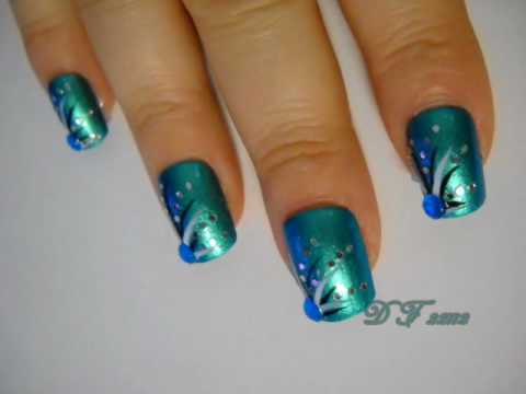 Prom Nail Art Series - Teal - Prom Nail Art Series - Teal - YouTube