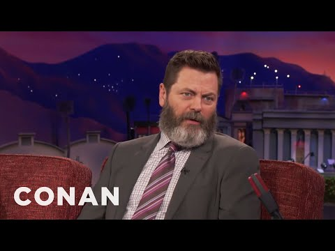 Nick Offerman Fell In Love With Megan Mullally's Filthy Sense Of Humor   CONAN on TBS