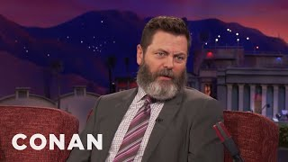 Nick Offerman Fell In Love With Megan Mullally's Filthy Sense Of Humor  - CONAN on TBS