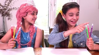 Three Markers Challenge â­� Princesses In Real Life | Kiddyzuzaa - WildBrain
