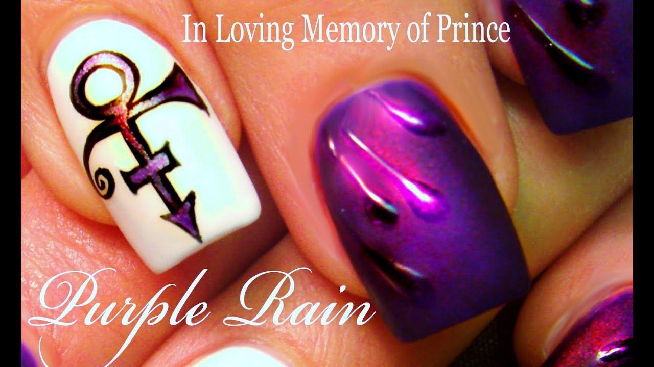 Prince Nail Art Design | Purple Rain Nails Nail Tutorial ...