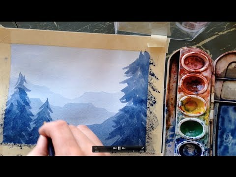 How To Paint A Simple Landscape In Watercolor Youtube