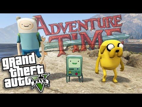 GTA 5 Mods - ADVENTURE TIME MOD W/ FINN, JAKE & BMO (GTA 5 Mods Gameplay)