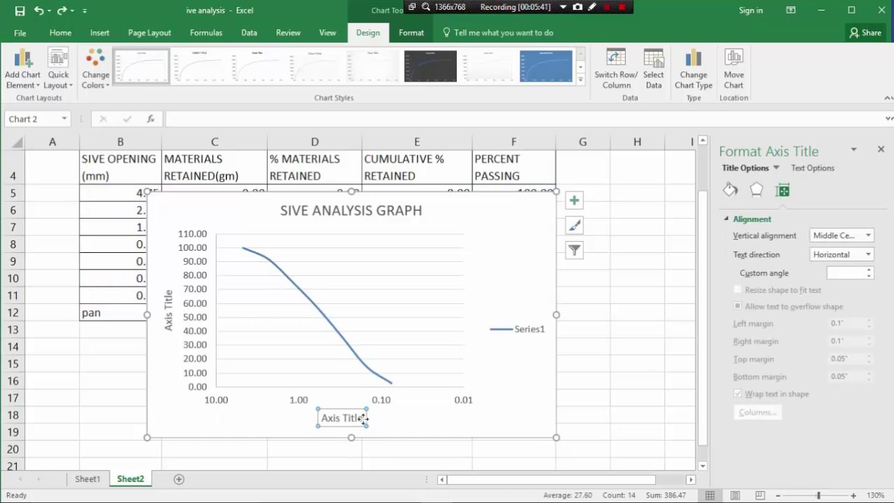 MS EXCEL CLASS 12   HOW TO SIEVE ANALYSIS GRAPH PLOT BY MS EXCEL