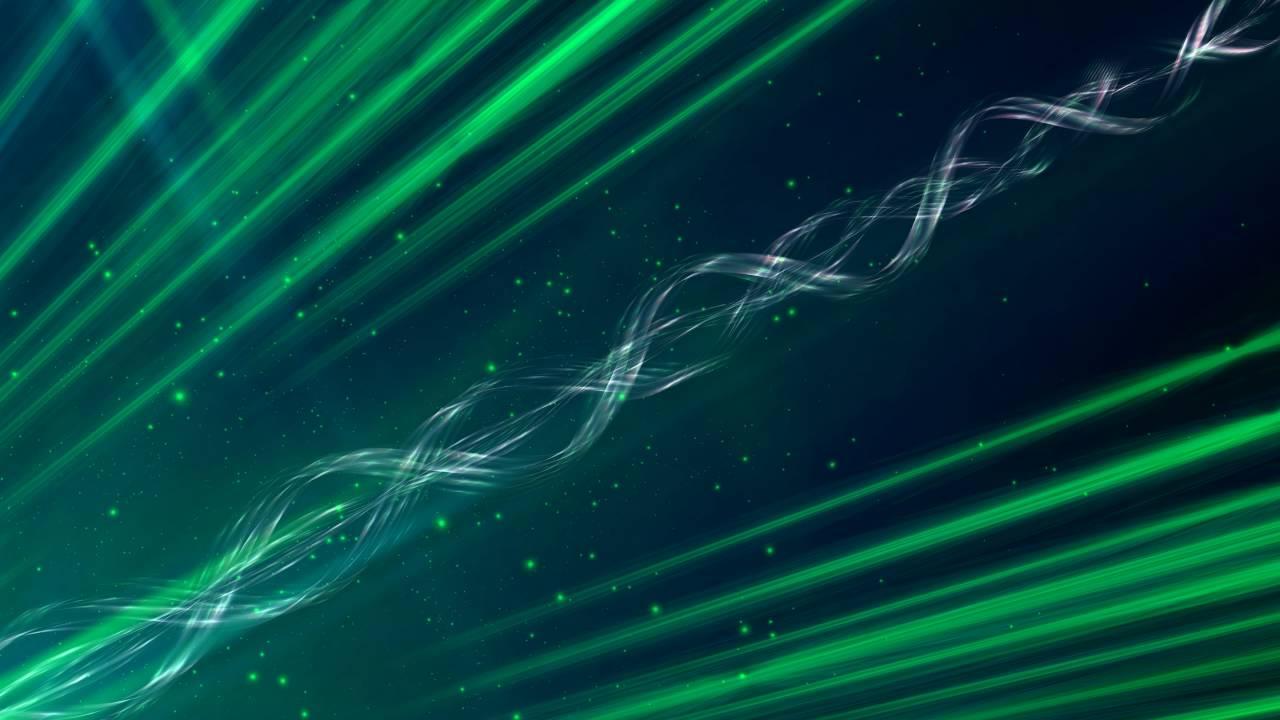 8K Snake Line Sparkling Green Space 4320p Motion