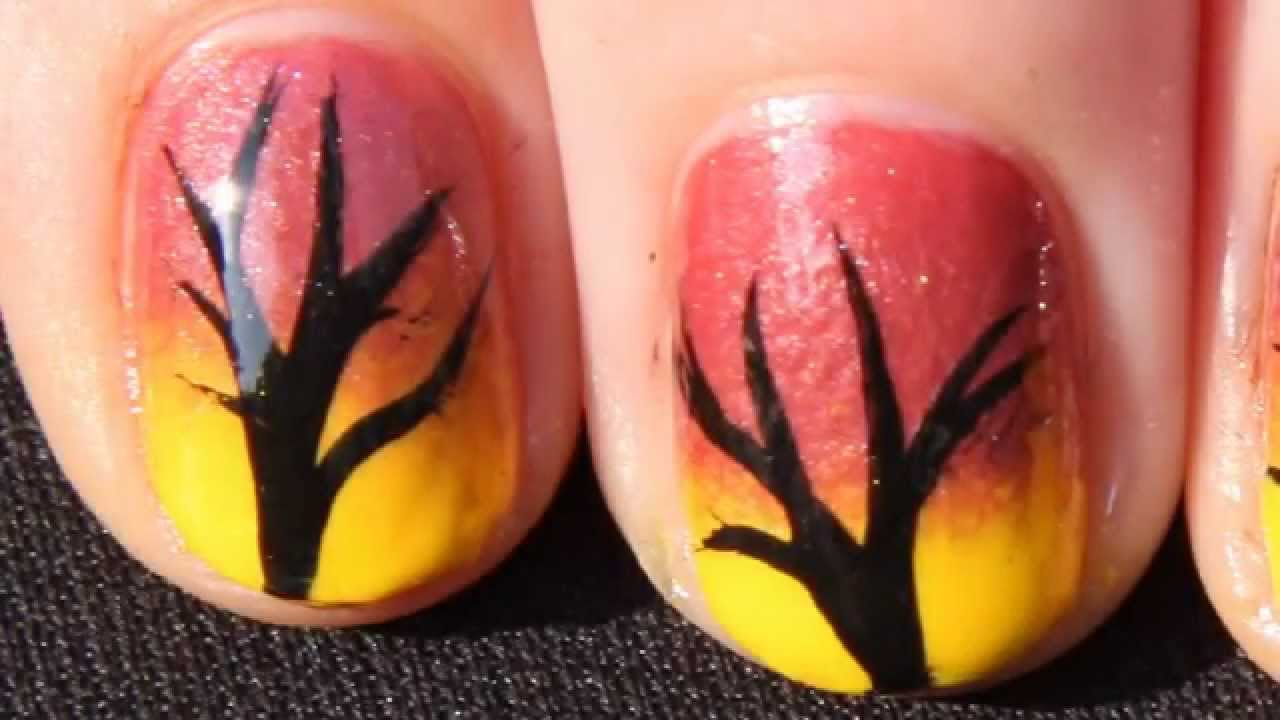 Quick and Easy Autumn Ombre Tree Nail Art Tutorial , Fall Nails