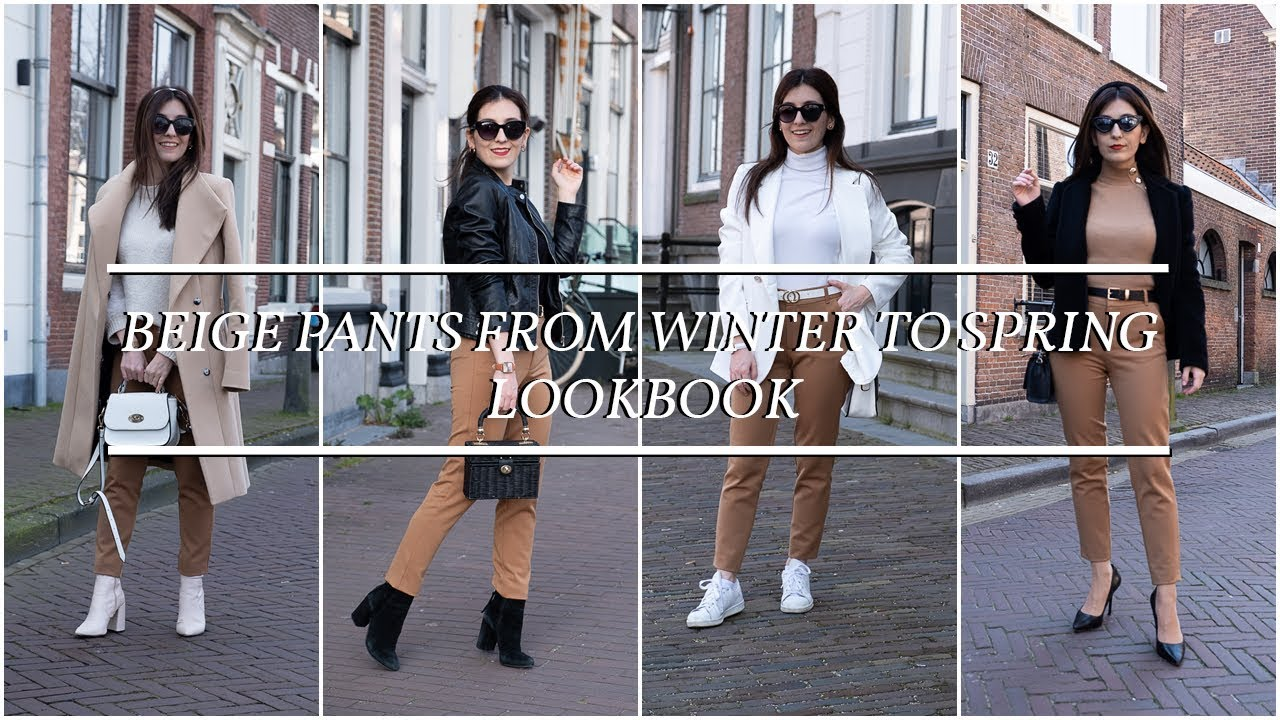 Beige pants from winter to spring lookbook 1