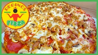 Reginos Pizza Review - Pepperoni, Shrooms & Spicy Italian Sausage