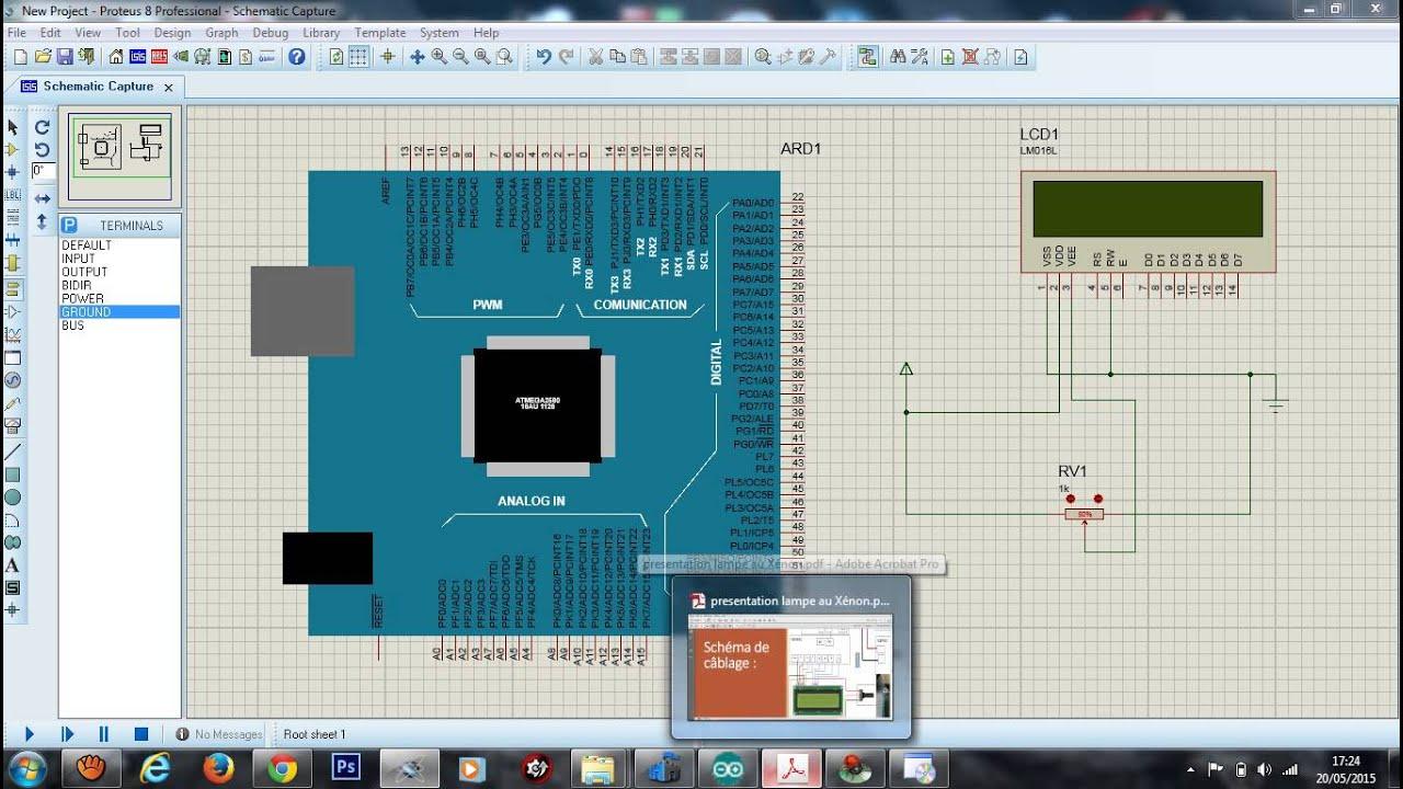 Simulation arduino afficheur lcd sur isis proteus youtube