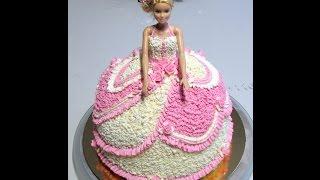 Кремовое оформление торта Барби.