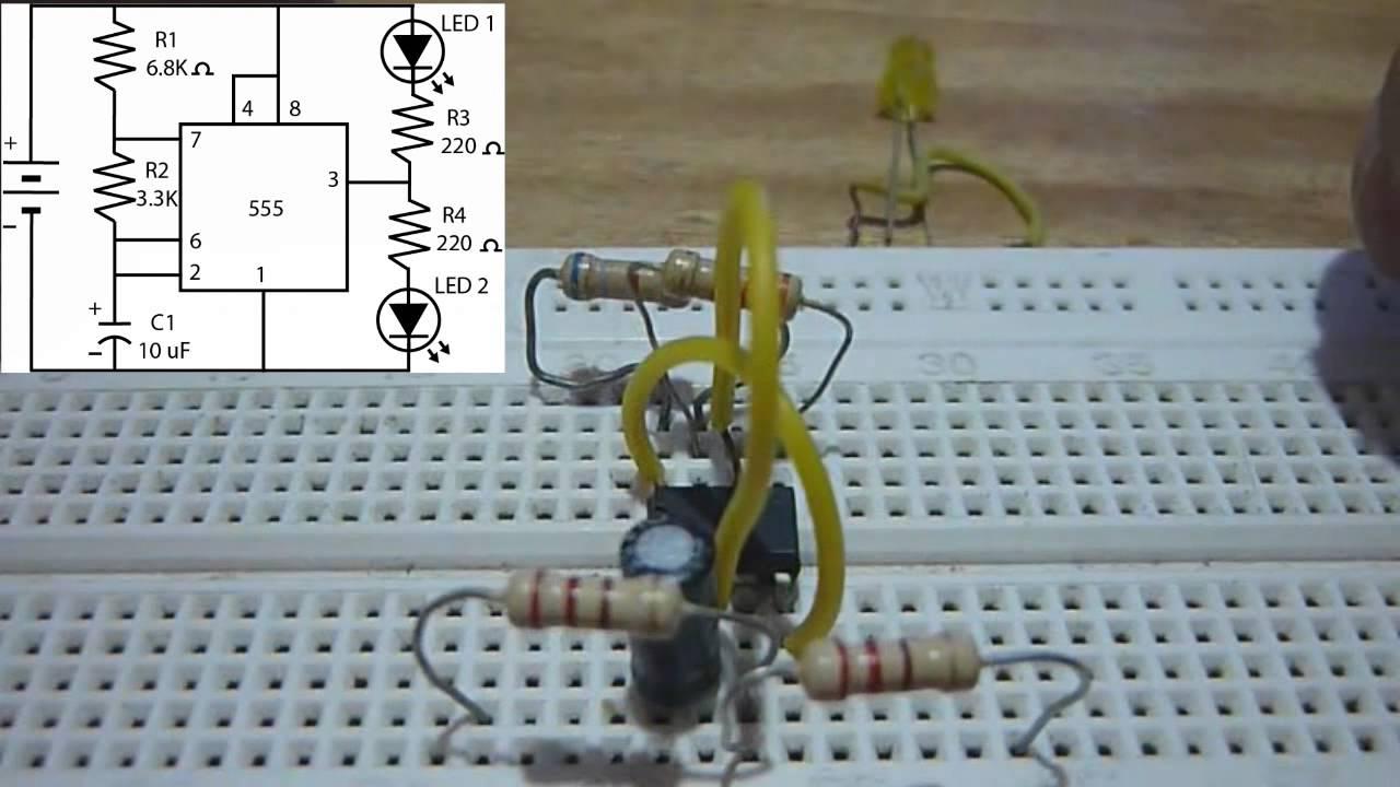 Circuito Luces Led Intermitentes : Protoboard luces intermitentes con circuito integrado