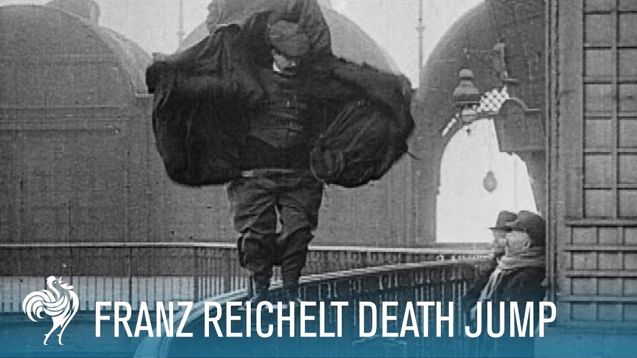 Man Springt Van Eiffeltoren.Franz Reichelt S Death Jump Off The Eiffel Tower 1912 British Pathe