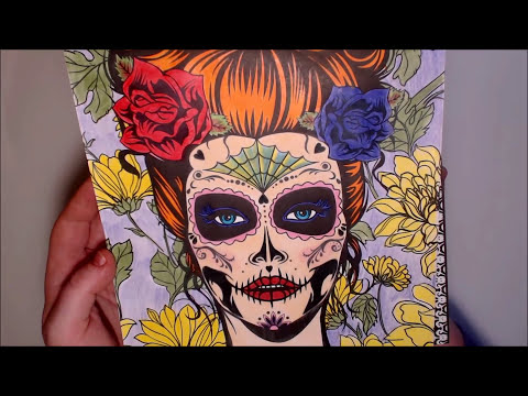 Happy Halloween - Skull Colouring Page - Day of the Dead Adult Colouring book