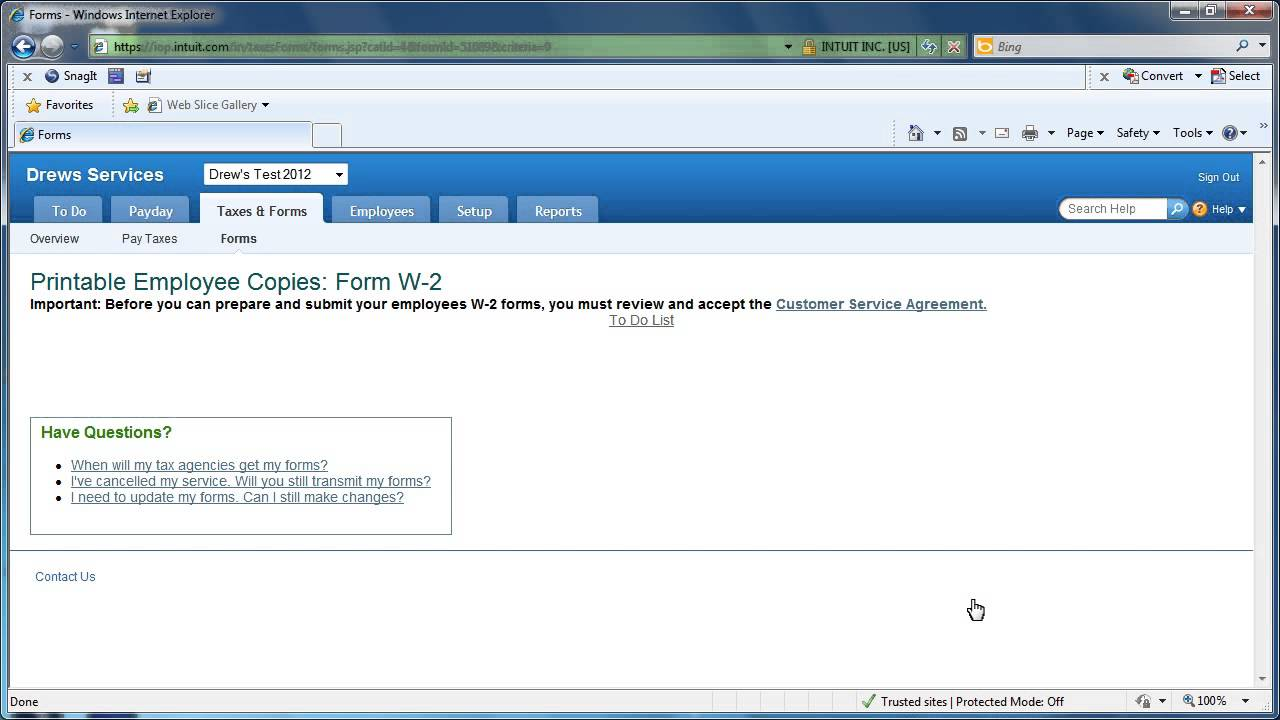 Intuit Online Payroll - Print Employee W-2 Forms - YouTube