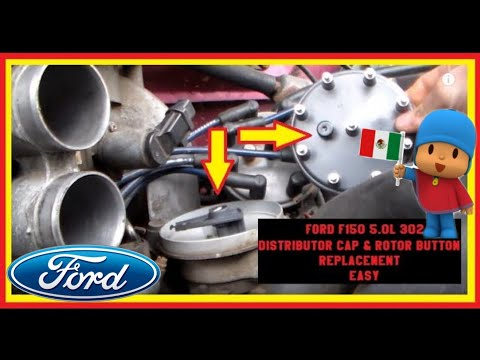 DIY FORD F150 5.0L 302 Distributor Cap & Rotor Button Replacement EASY