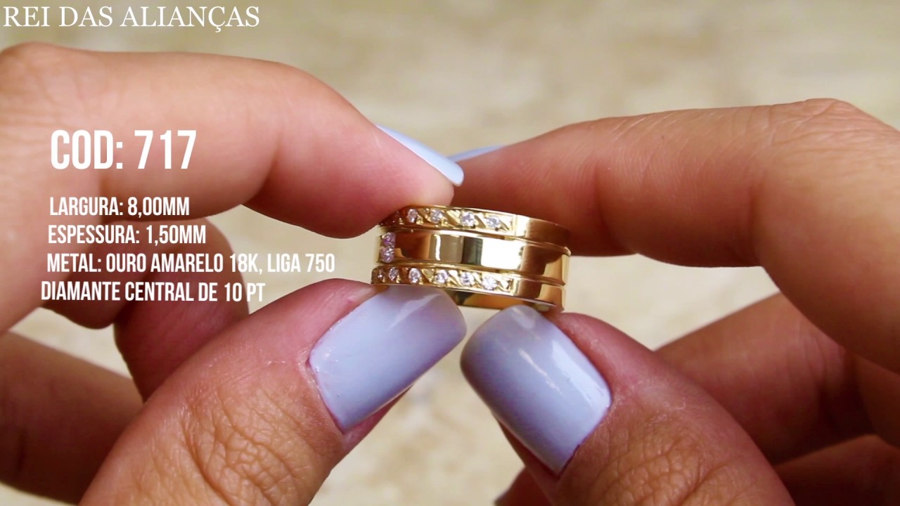 Alianças Luxuosas Brooklin Diamante na Feminina Cód. 717 - Rei das Alianças 93e57535ce