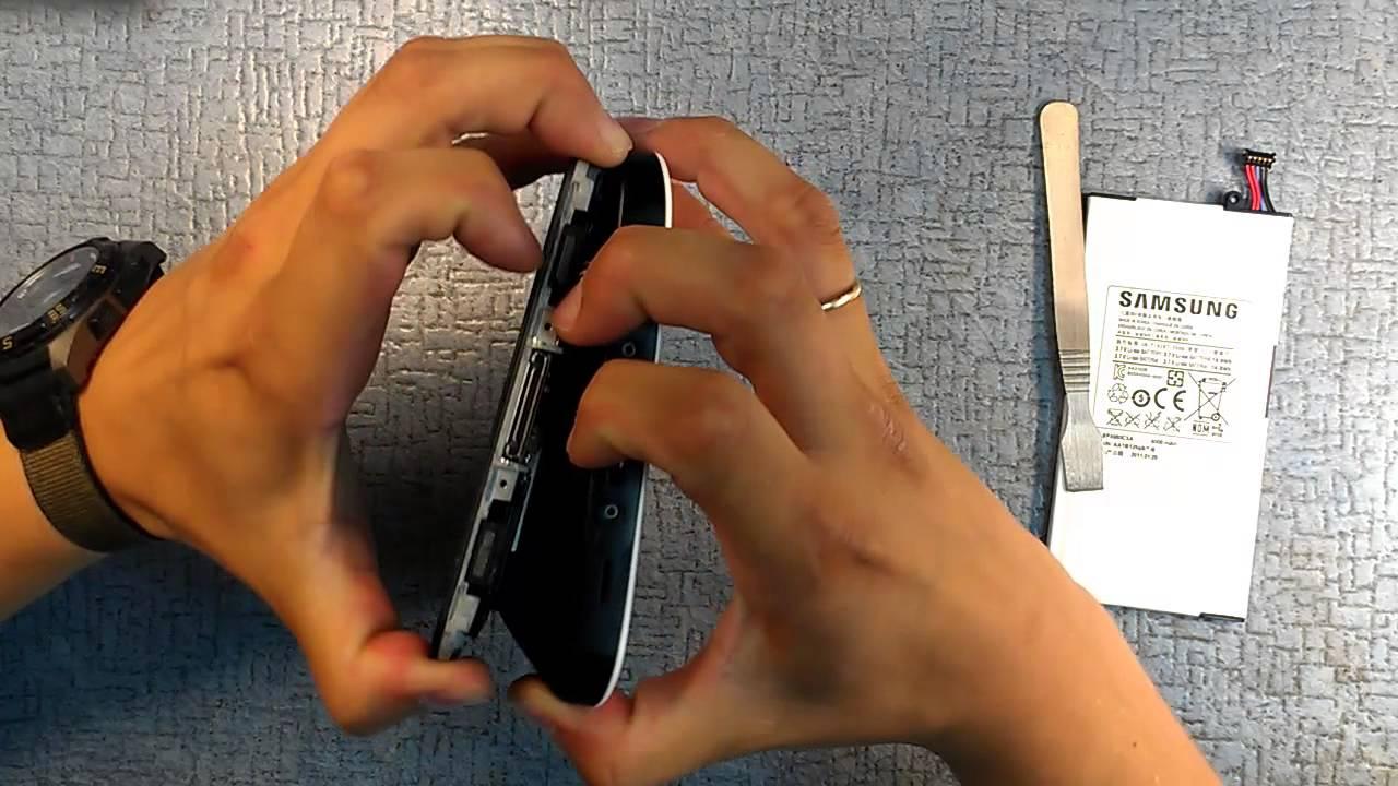 Замена батареи на планшете Samsung Galaxy Tab GT-P1000 - YouTube