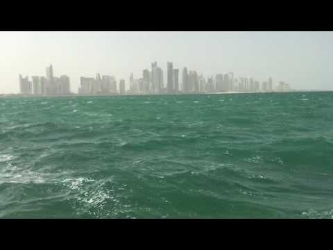 Doha Corniche with high tide and windy climate