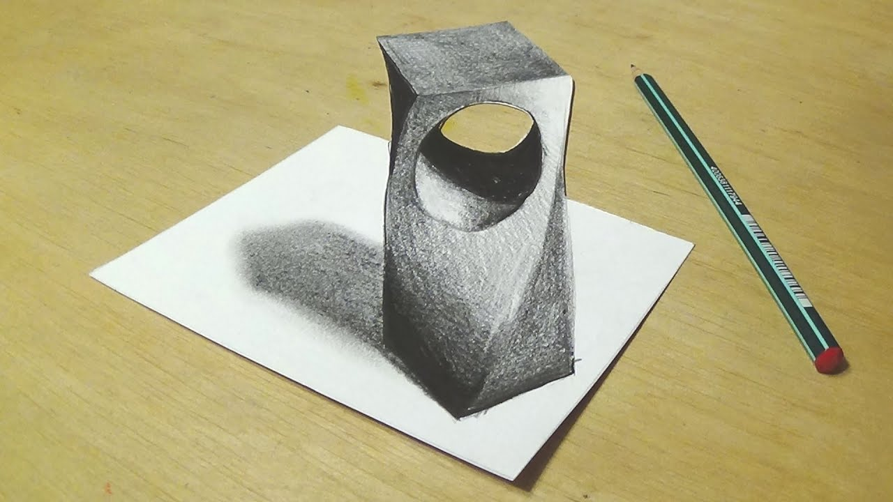 Drawing 3d holey object trick art with graphite pencils cool anamorphic illusion