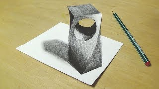 Drawing 3D Holey Object - Trick Art with Graphite Pencils - Cool Anamorphic Illusion