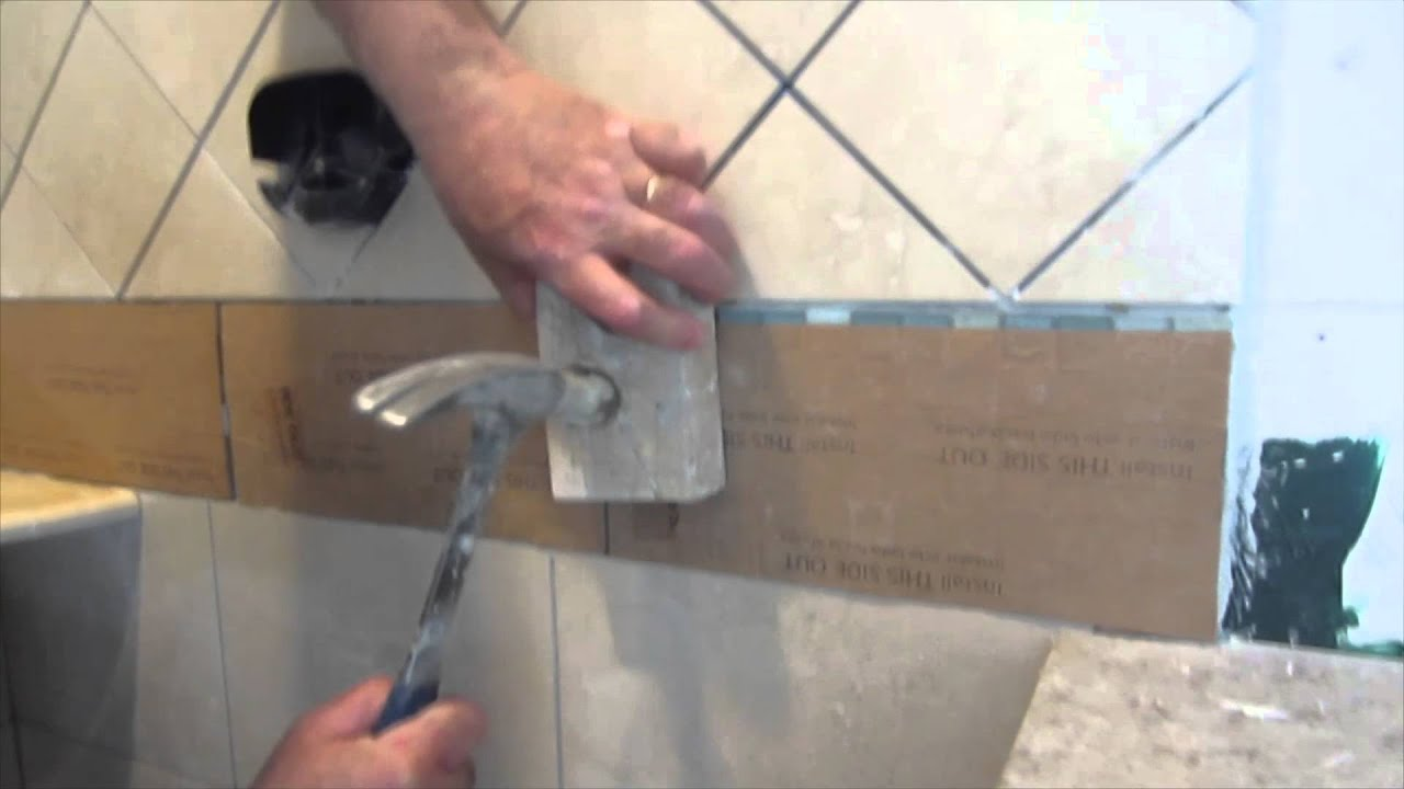 Complete tile shower install Part 7. installing glass tile border ...
