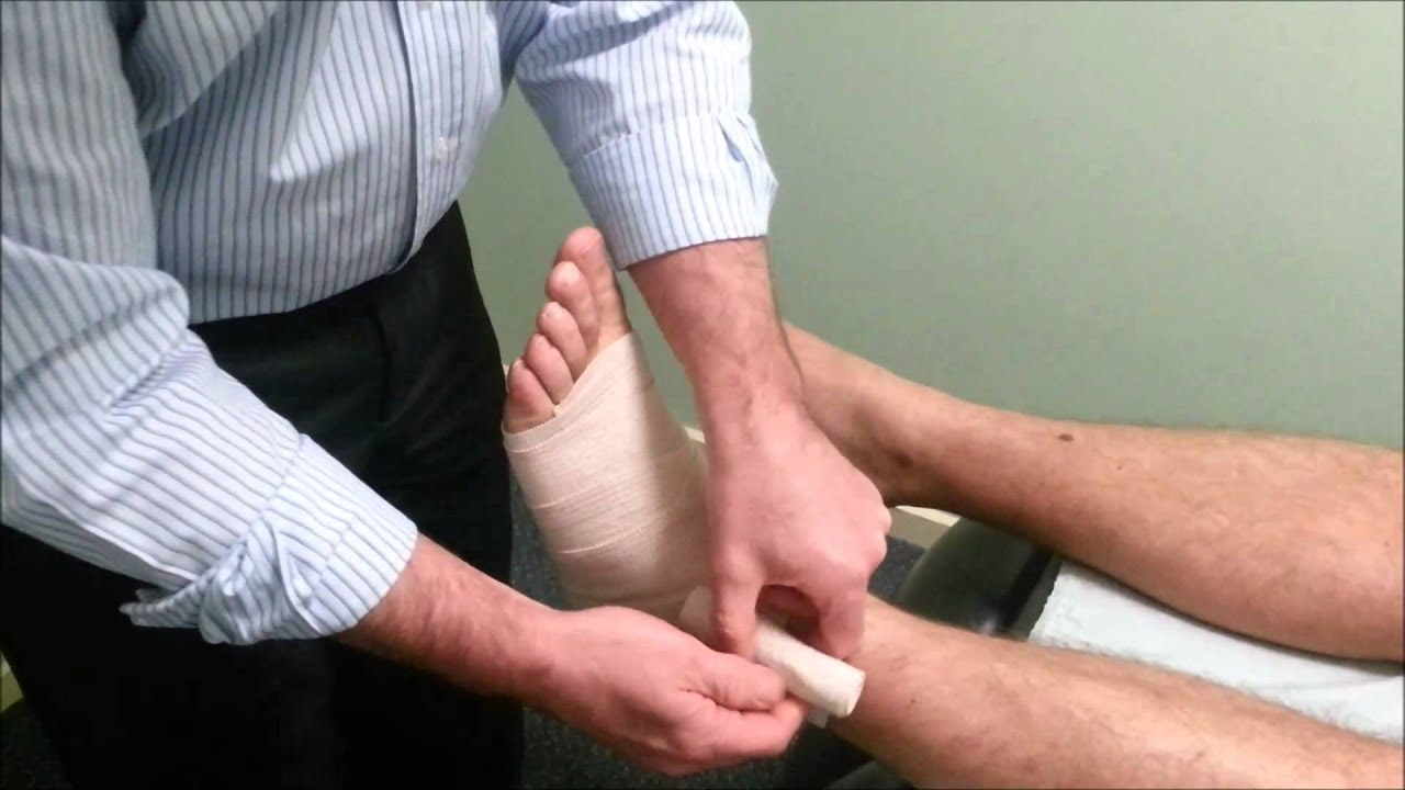 How To Apply A Compression Bandage To A Sprained Ankle Youtube