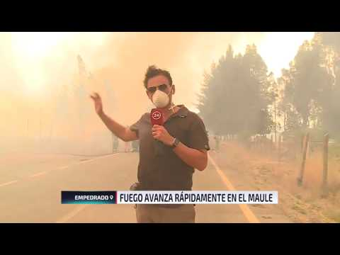 Equipo de TVN capta en vivo emergencia por rápido avance del fuego en Empedrado