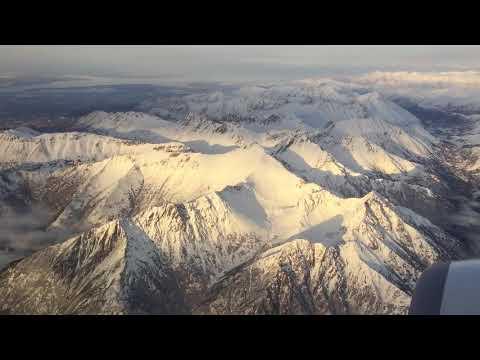 Anchorage Alaska Airplane Approach   Prince William Sound   Chugach Mountains