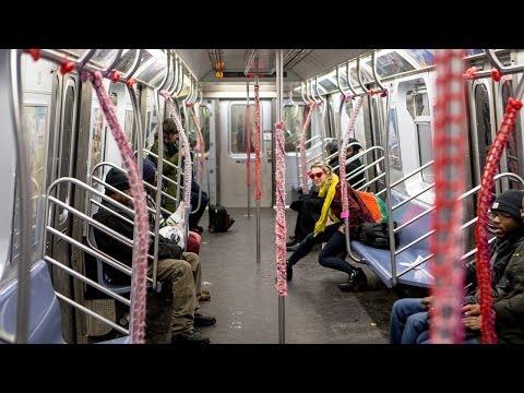 Watch London Kaye Yarn-Bomb the L Train