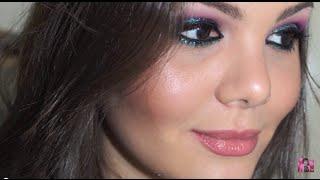 Make Roxa e Azul com Glitter | Raisa Falcão