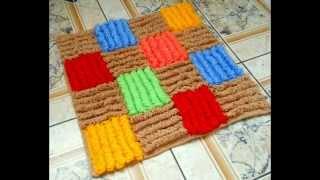 Коврик Цветной - вязание крючком объемного коврика