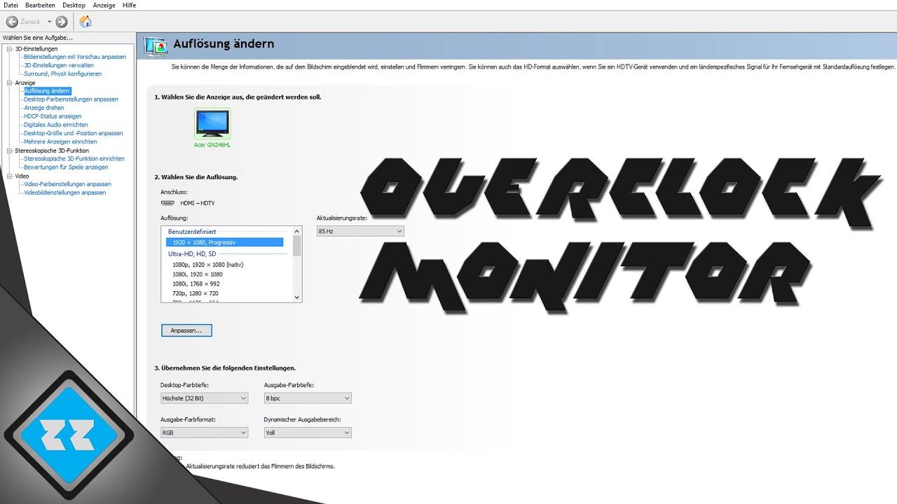Monitor übertakten - Overclock your Monitor for Gaming [ HD ] [ Tutorial ][  German ]