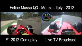 FORMULA 1 Felipe Massa Q3 Monza, Italy - 2012 Split Screen: Live TV x Gameplay Codemasters