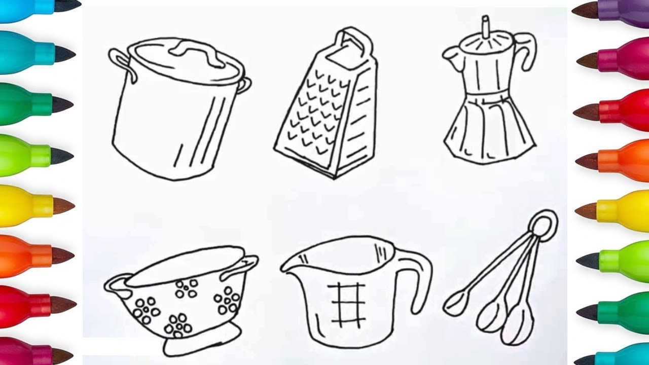 How To Draw Cooking Utensils For Children